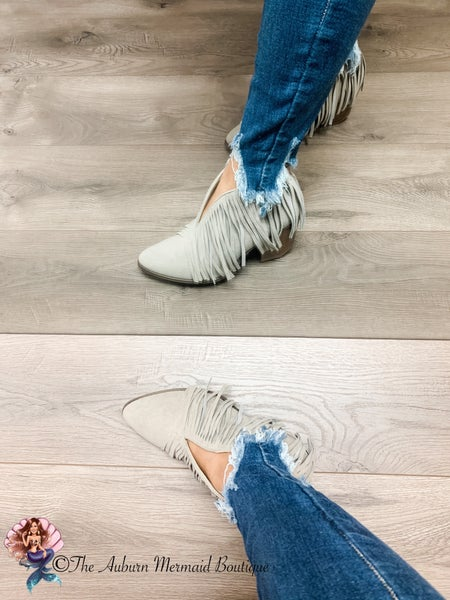 Light Taupe Fringe Booties