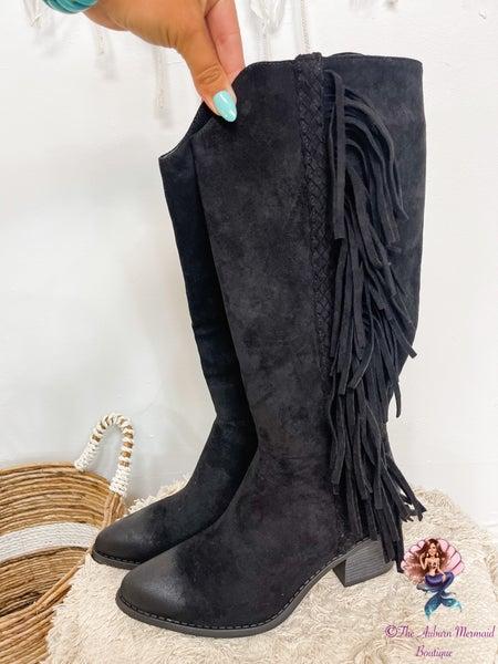 Trixie Black Fringe Boots