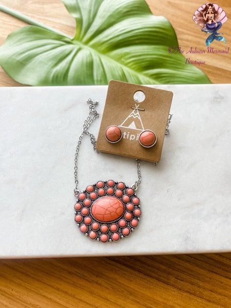 Peach Western Stone Pendant Necklace
