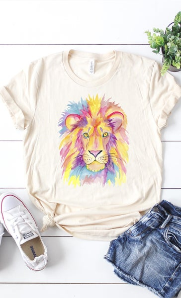 Cream Watercolor Lion Graphic Tee