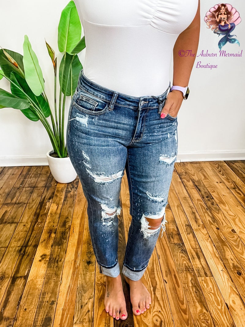 Judy Blue Mid-Rise Boyfriend Beach Splash Jeans