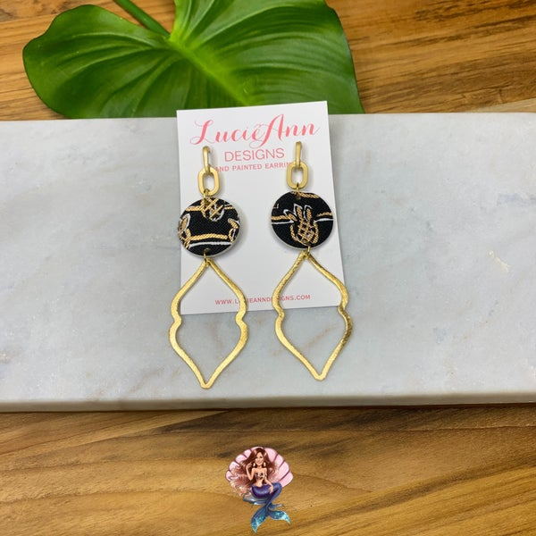 Medium Black Pineapple Lucie Ann Earrings