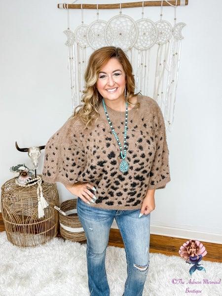 Mocha Animal Print Fuzzy Sweater