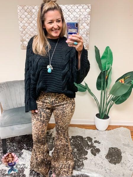 Leopard Pearl Embelished Super Flare Jeans