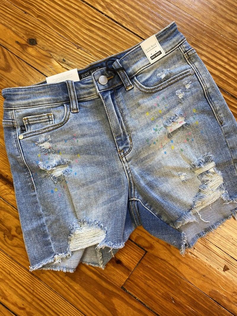 High Rise Paint Splatter Judy Blue Shorts *Final Sale*