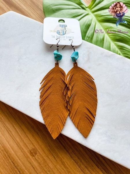 Tan Suede Feather Earrings