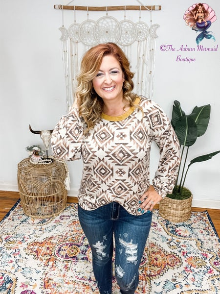Taupe & Brown Atzec Long Sleeve Top