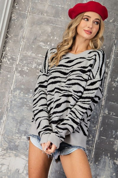 Hanging Out Zebra Sweater