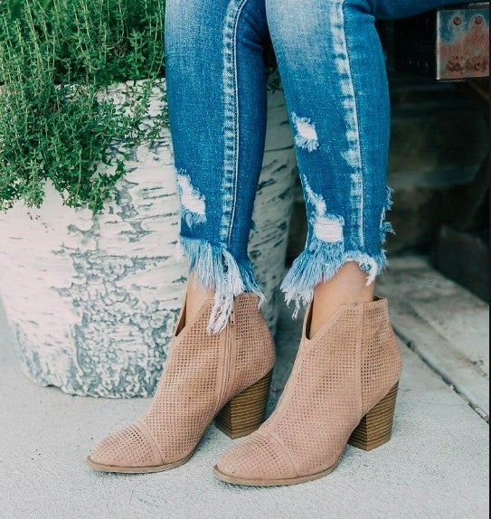 Taupe Suede Ankle Bootie *Final Sale*