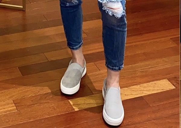 Grey Suede Slip On Shoe