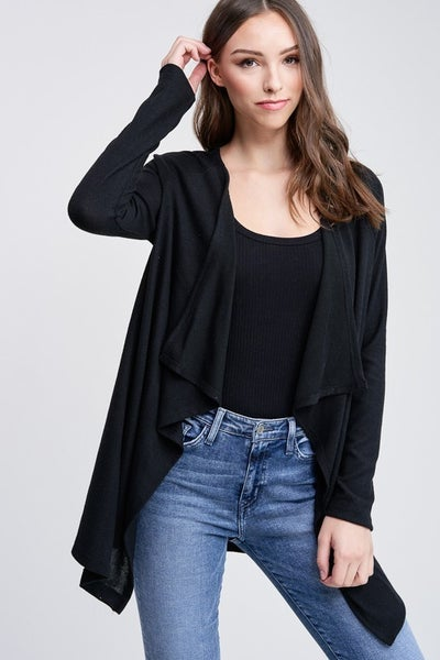 Super Chic Draped Open Front Cardigan