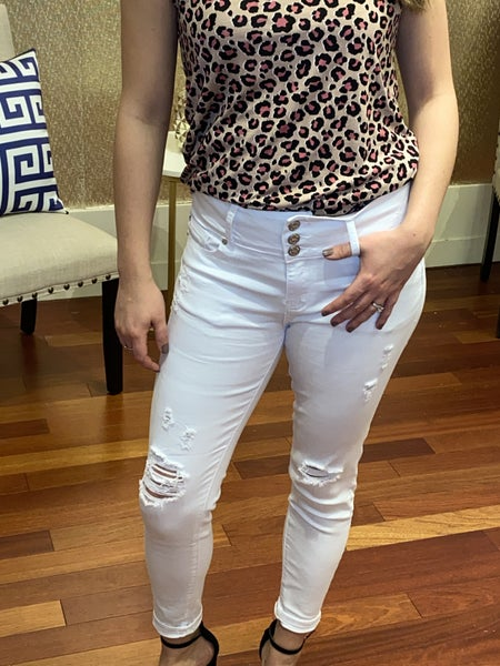 High Rise Ankle Distressed White Jeans