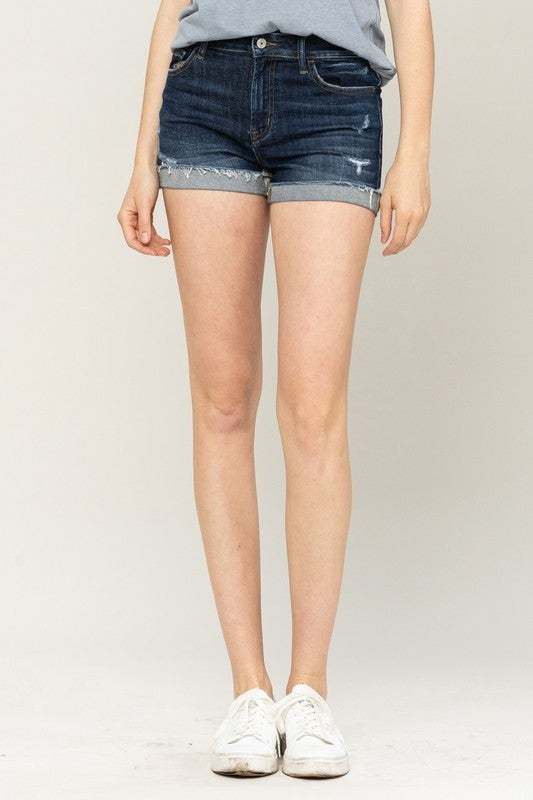 cuffed raw hem shorts