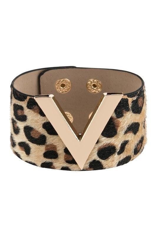 v leopard printed leather bracelet *Final Sale*