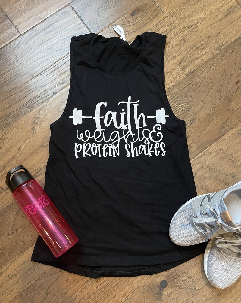 CTSTL Workout Tank_Muscle Sleeve Faith  Weights and protein shakes