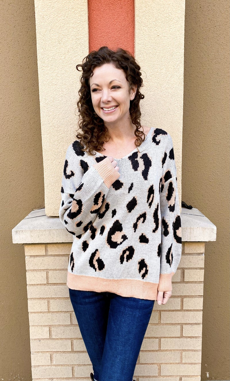 Peaches and Leopard Sweater