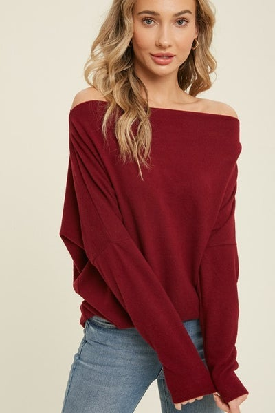 Hug Me Hacci Off Shoulder Sweater