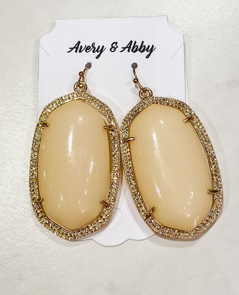 Large Ivory & Gold Earrings *Final Sale*