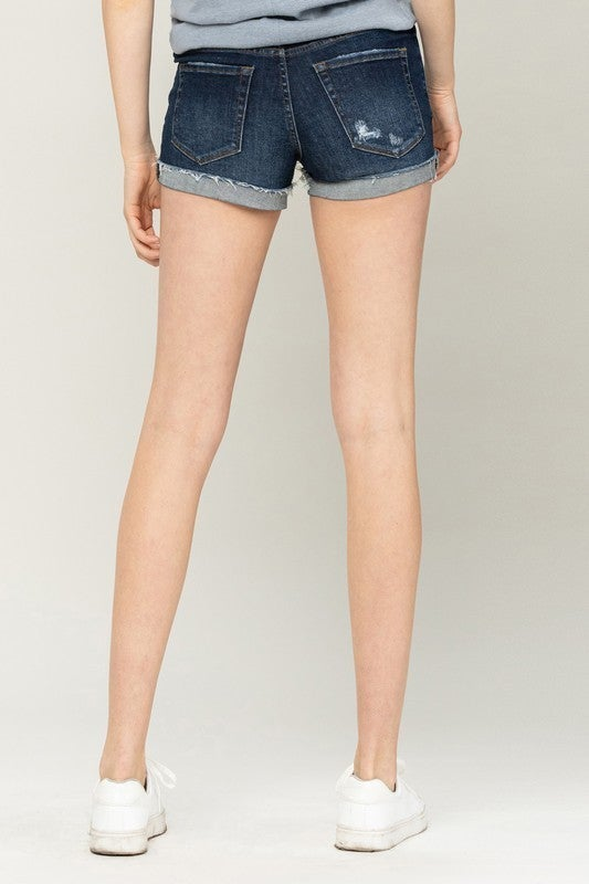 cuffed raw hem shorts