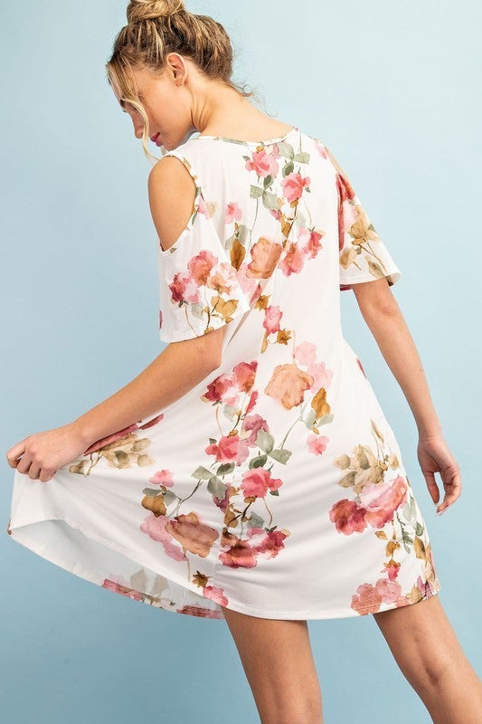 Watercolor Roses Swing Dress