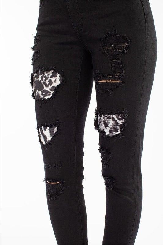 Black  Distressed Leopard Jeans