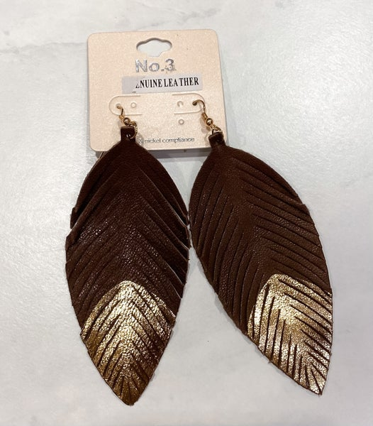 Leather Feather Gold Dip Earrings *Final Sale*