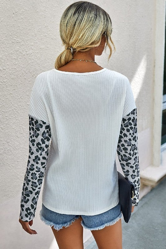 Leopard In The Mix Top *Final Sale*