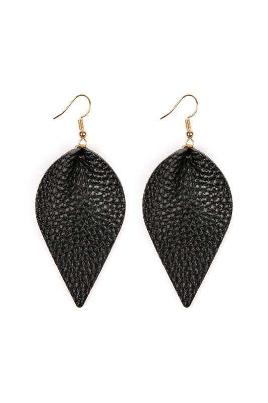 Teardrop Shape Pinched Leather Earrings