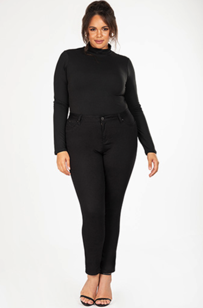 Plus Size Mid Rise Skinny Black Denim Jean *Final Sale*