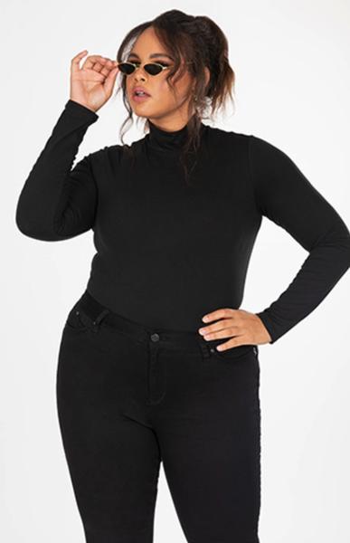 Plus Size Mid Rise Skinny Black Denim Jean