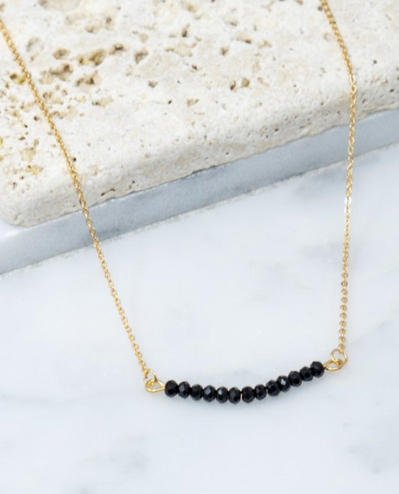 Glass Bead Bar Necklace