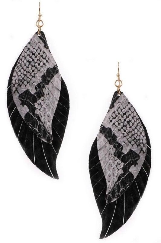 Snake Print Feather Earrings