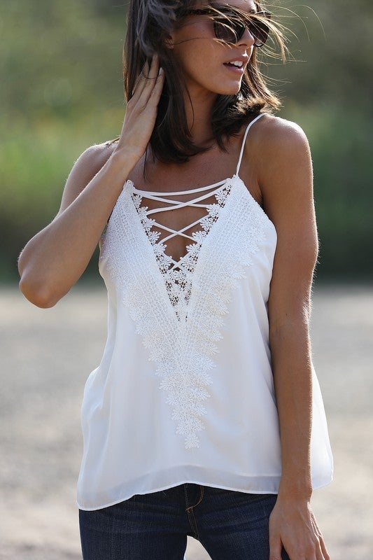Embroidery Lace Tank Top - 2 colors!