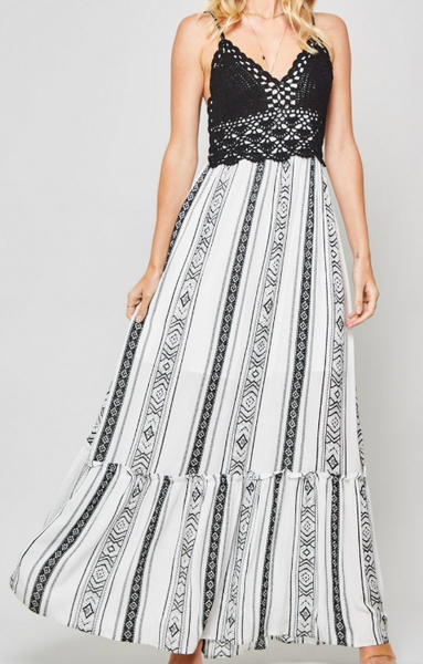 Long Lines Tribal Maxi Dress