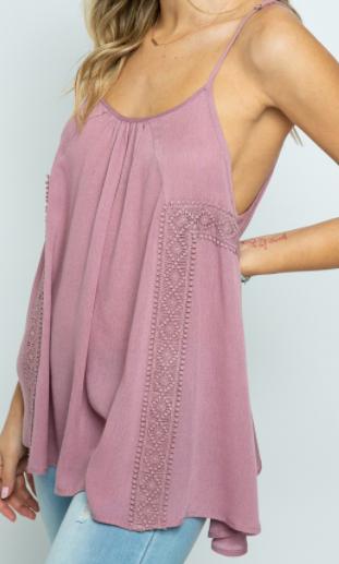 Purple Crochet Detail Tank