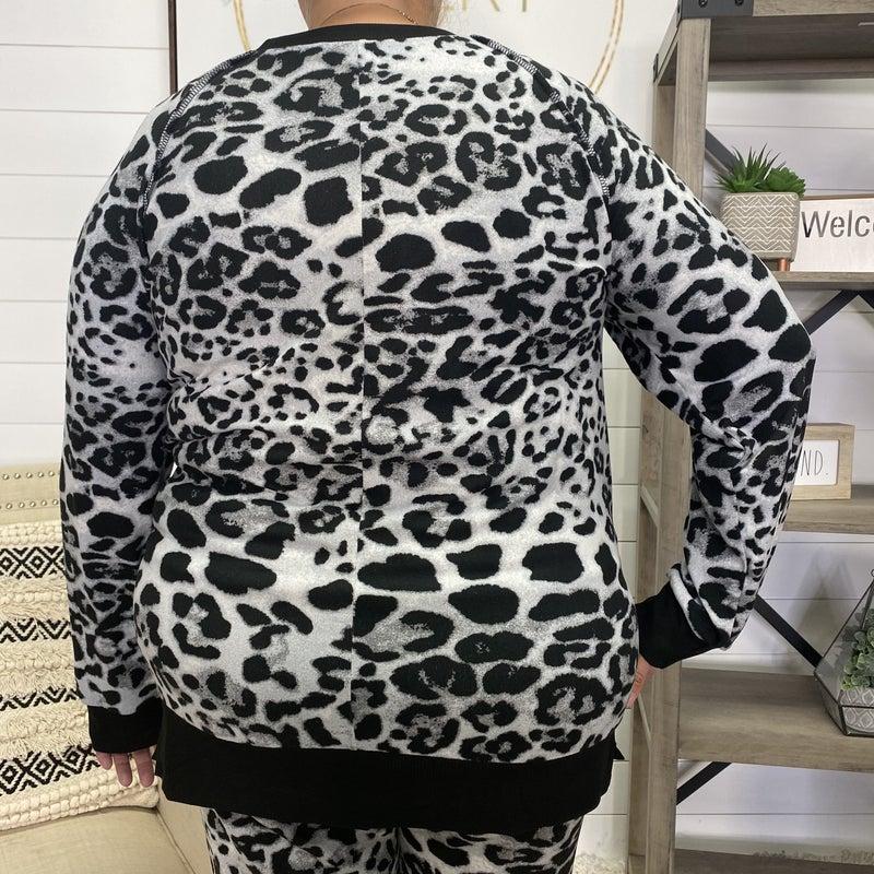 Black & Grey Leopard Honeyme Long Sleeve Top