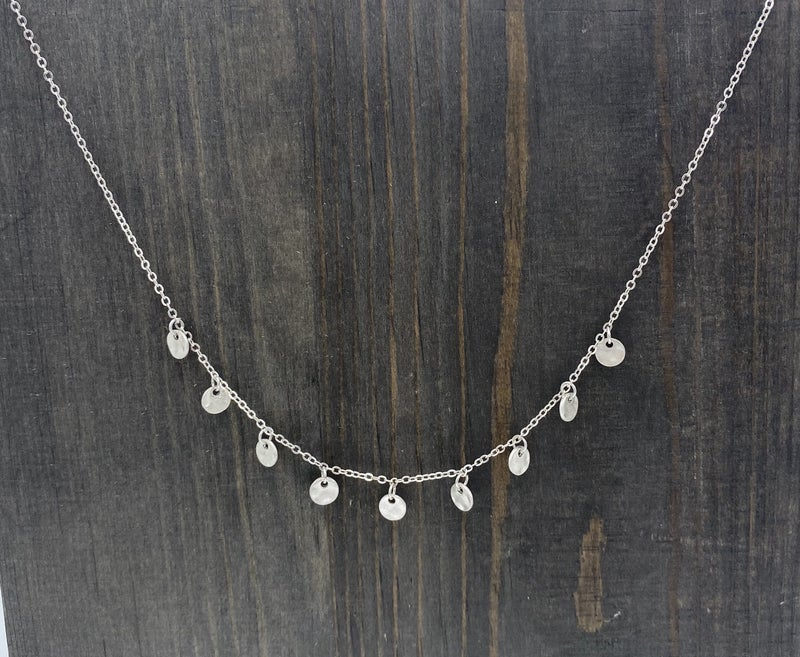 Matte Silver with Silver Disc Necklace