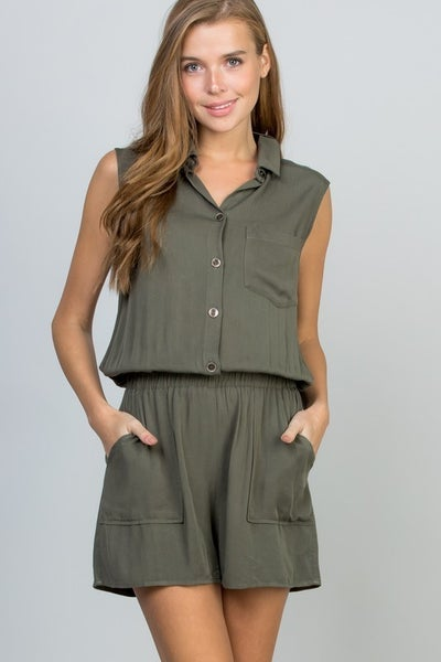 Sleeveless Romper With Elastic Waist