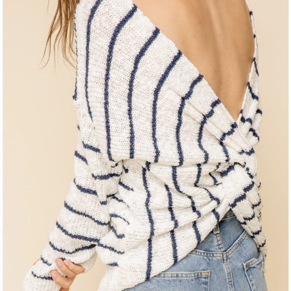 Back Twist Navy Stripe Spring Sweater