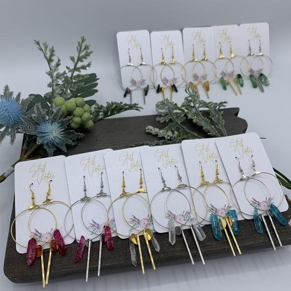 SILVER Handmade Crystal Charm Hoop Earrings- Lead & Nickel Free