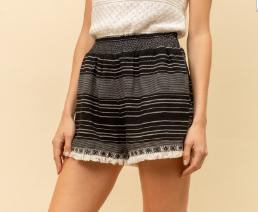 Textured Stripe Fringe Hem Shorts