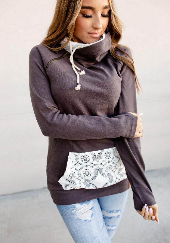 Grey Double Hooded Lace Accent Hoodie