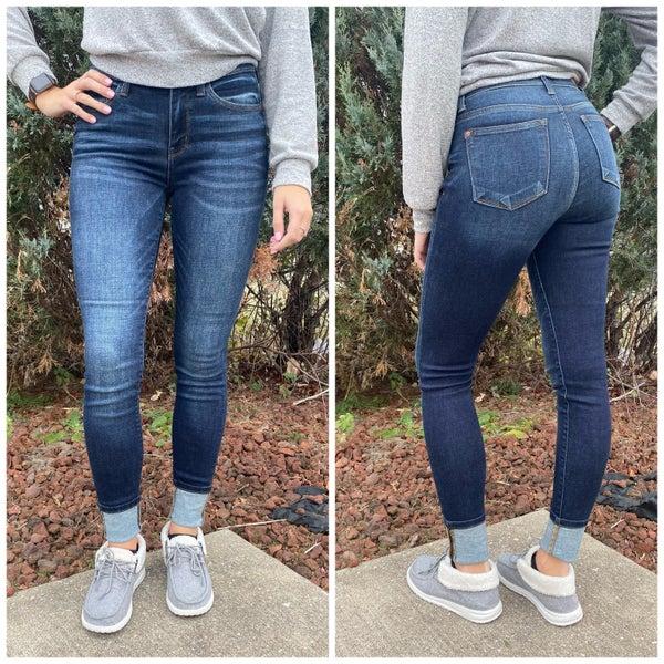 Dark Blue Cuffed Judy Blue Jeans