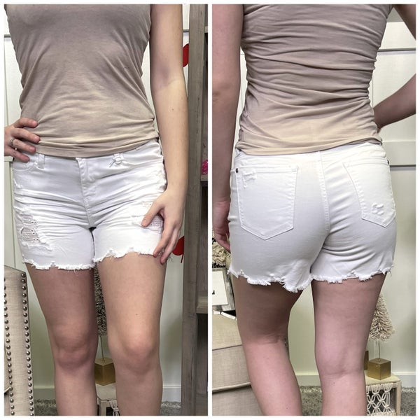 White Lace Patch Judy Blue Shorts
