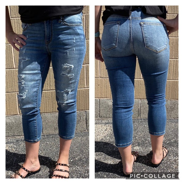 Medium Wash Mid Rise Distressed Judy Blues