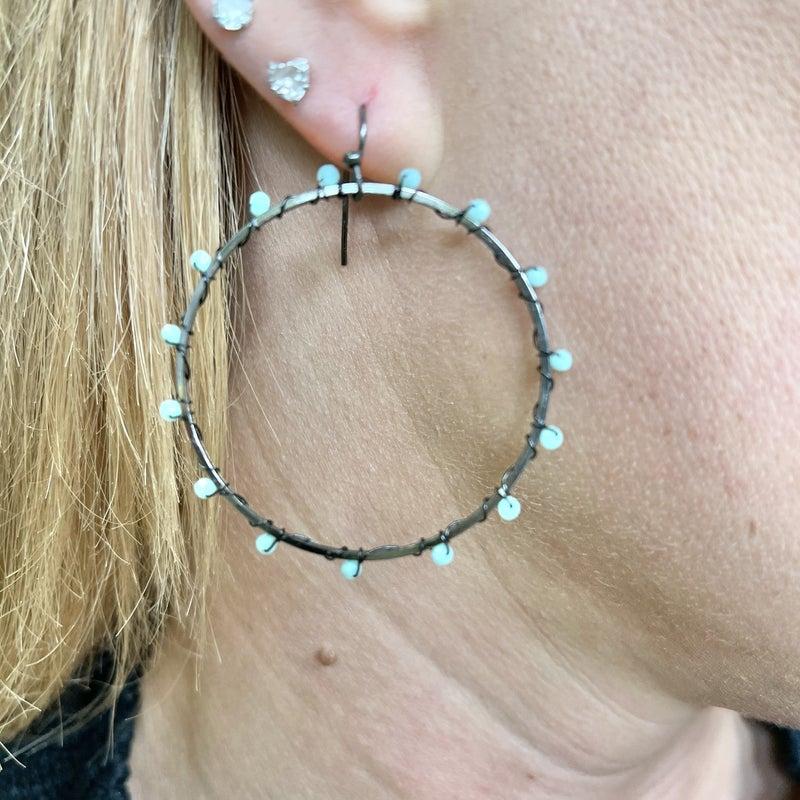 Beaded Hematite Hoop Earrings - 2 colors!