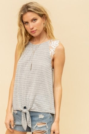 Grey Knitted Striped Top with Crochet Shoulder