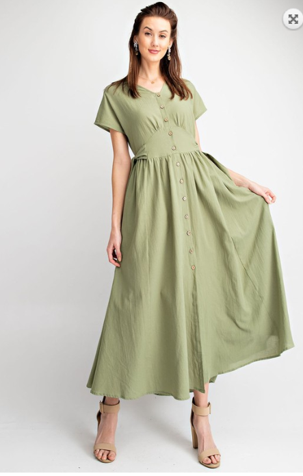 Light Olive Side Bow Dress