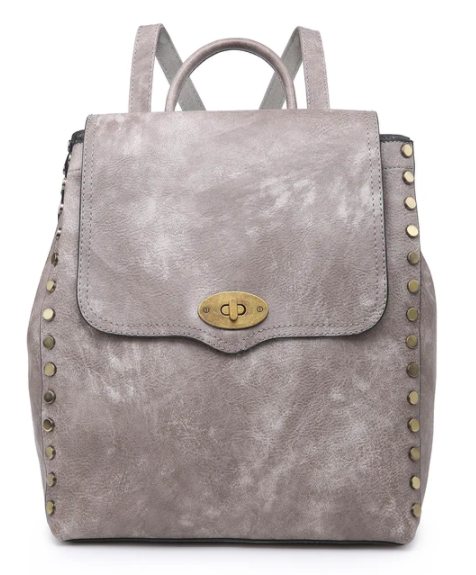 Vegan Leather Distressed Studded Backpack - 2 colors!