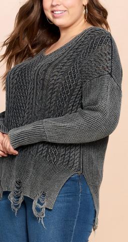 Black Distressed Life Sweater